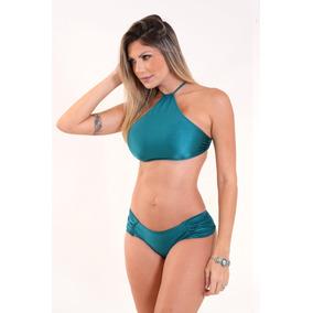 Biquíni Top Cropped Liso_ Moda Praia Feminino Promoção