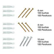 Kit Buchas Tijollo Furado Parafusos 6mm 8mm 10mm 100 Cada