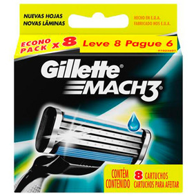 Carga Para Aparelho De Barbear Gillette Mach3 - 8 Unidades