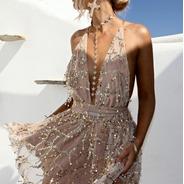 Vestido Com Lantejoulas Ano Novo Festas Balada Praia Verão