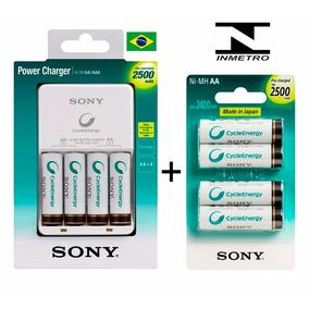Carregador Sony Com 8 Pilhas Aa 2500 Recarregaveis Inmetro