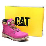 Bota Feminina Caterpillar Couro Rosa Pink Original Promoção