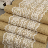 Burlap & Lace Table Runner (white Lace Flower, 12x120 Inches