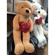 Urso Teddy Gigante Caramelo Pelúcia Grande 1,65 Mt + Coração