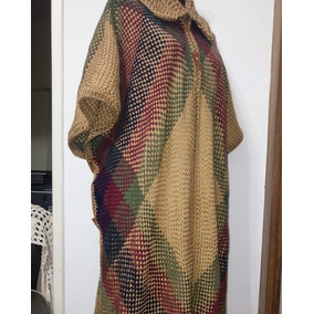 Ruana Poncho Lana Tejido Artesanal Telar Crochet 4xl