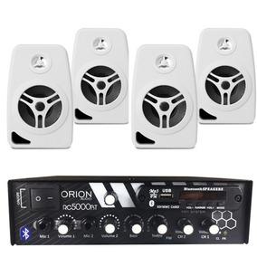 Kit Som Ambiente 300w Bluetooth + 4 Caixas Parede Brancas