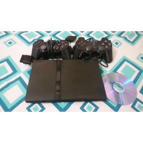 Playstation 2 Slim Ps2 Slim Desbloq. + 2 Controles Originais