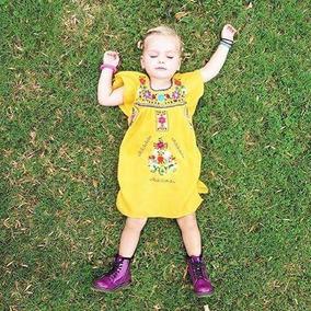 Vestido Para Niñas Bordado A Mano Artesanal Mexicano