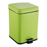 Cubo Residuos Cuadrado A Pedal Color Verde 3 Lts Para Baño