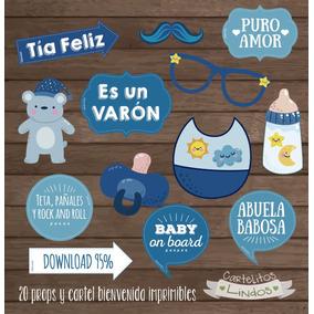 Props Y Cartel Bienvenida Baby Shower Nene Imprimible 20unid