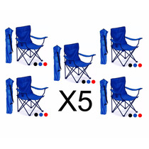 5 Sillas Plegables De Playa Azul Con Envio Gratis