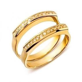 Par De Aliança E Aparador Em Ouro 18k E Diamantes Cwb Joias