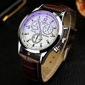 Relógio Social Masculino Luxo Pulseira Couro Marrom