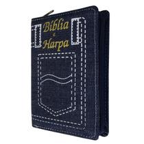Bíblia Pequena Com Harpa - Capa Zíper Jeans
