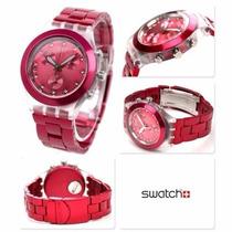Relógio Swatch Full Blooded Raspberry Svck4050ag -12x Sem Ju
