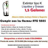 Extintor Tipo K Grasas, Cocinas, Restaurantes 1,5 Galones