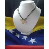 Collar Cuerito Ajustable Dije Orfebrería Mapa De Venezuela