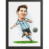 Caricatura Lionel Messi Seleção Argentina 42 Cm X 30 Cm