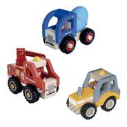 Set 3 Camiones De Madera Dactic Niños Pequeños