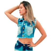 Colete Jeans Feminino Cropped Curto Desfiado Jeans Destroyed