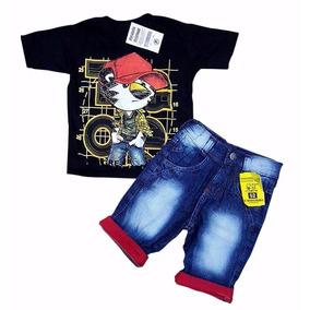Conjunto Camiseta Bermuda Jeans Tigor Infantil Envio Rapido