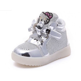 Bonitos Zapatos Tenis Luz Led Intermitente De Hello Kitty