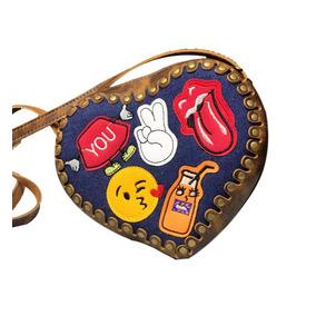 Bolsa Feminina Patches Jeans Couro Coração Emoji Ref 215