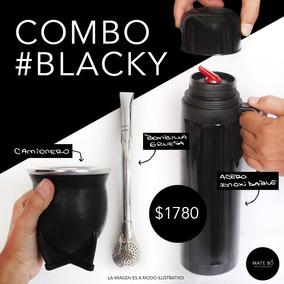 Mate Y Bombilla Uruguaya Combo Blacky