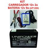 Kit Carregador 12v 2a ( Sc ) + Bateria 12v 9a ( Up1290 )