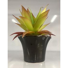 Plantas Suculentas Artificiais Vaso Preto Cerâmica