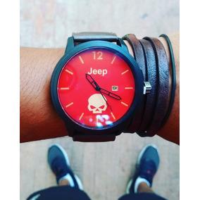 Reloj Jeep Rojo Calavera Con Calendario / Envío Grátis