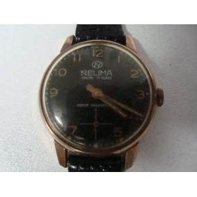 Relógio Nelima Swiis 17 Rubis, Corda, 27mm, Folhado A Ouro.