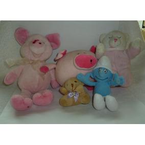 Pelúcia Lote Com 2 Ursinhos, 2 Porquinhos E 1 Smurf