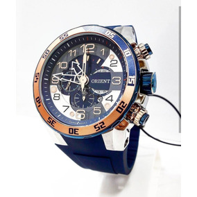 Relógio Masculino Orient Cronógrafo Mtspc008 Pulseira Azul