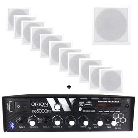Kit Som Ambiente 300w Bluetooth + 12 Caixas Quadrada Brancas