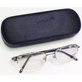 Armação Oculos De Grau Montblanc Mb89 Preta Meio Aro Linda! 2014162f5f