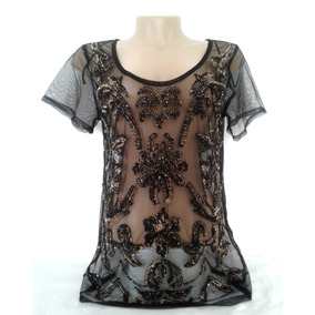 Blusa Feminina Open Up Leader Tule Bordado Paetês