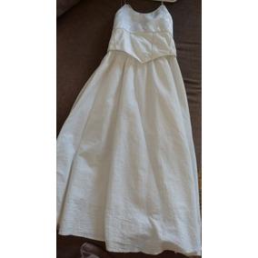 Hermoso Vestido Blanco Graduación Kinder Manta 100% Algodón