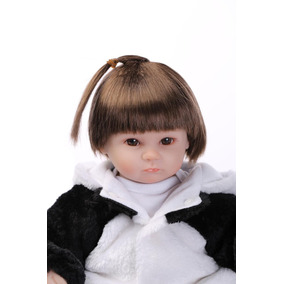 Boneca Bebê Reborn Menina Fantasia Panda Linda Criança