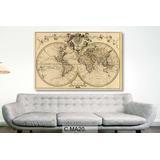 Cuadro De Mapas Antiguos Planisferios Lienzo Canvas 120x80cm