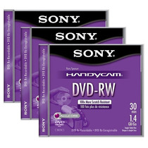 3 Mini Discos Dvd-rw Sony Handycam Re-grabable Video Camaras