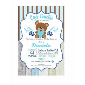Invitacion Imprimible Personalizada Baby Shower Niño De Oso