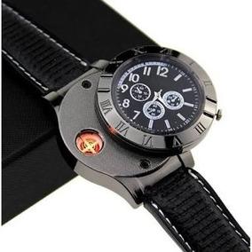 Reloj Encendedor 2 En 1 Recargable Usb Negro Y Blanco