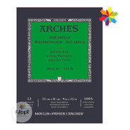Bloc De Hojas Arches Acuareleable 23x31 Grano Fino 300g 12h