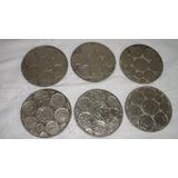 Antiguo Lote De Seis Posavasos Monedas Metal Plateadas