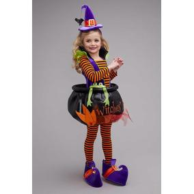 Disfraz Lujo Bruja Niña Brujita Halloween Dia De Brujas Mod1