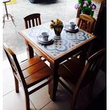 Mesa De Jantar 4 Lugares Madeira Azulejo Hidráulico Oferta