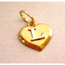 Pingente Coração Com Letra Inicial Do Nome Joia De Ouro 18k