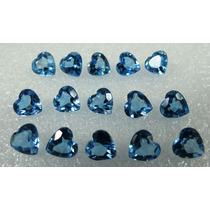 10 Pedras Topázio Azul Swiss Blue Coração 6 Mm Extra
