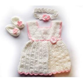 Vestido De Bebé Tejido A Mano De 0 A 3 Meses